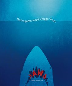 Jaws Movie Poster Print, Jaws Poster, Home Decor, Print Art Poster, Gift, You're gonna need a bigger boat, Classic Version