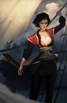 Pirate by Sophie Medvedeva Fantasy Character Design, Character Design Inspiration, Character Concept, Character Art, Character Ideas, Fantasy Women, Fantasy Rpg, Medieval Fantasy, Pirate Art