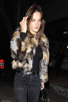 Keeping it natural: Always camera-ready, Alessandra wore very little make-up and let her matte complexion and flawless skin radiate a natural glow