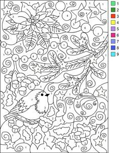 COLOR BY NUMBER WINTER * Coloring page