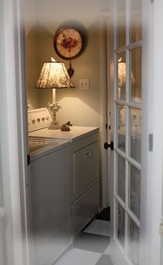 french door to laundry room.          The flooring is so cool and soft against the walls in the room.