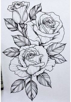 25 Beautiful Flower Drawing Information & Ideas – Brighter Craft – Tattoo Sketches & Tattoo Drawings Rose Tattoos, Leg Tattoos, Arm Tattoo, Body Art Tattoos, Sleeve Tattoos, Compass Tattoo, Tattoo Diy, Tattoo Wolf, Rose Tattoo Leg