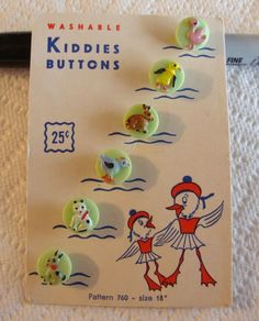 6 Vintage Green Glass ANIMAL KIDDIE Painted Buttons ON CARD