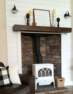 Check out this wood burning stove fireplace with . Check out this wood burning stove fireplace with its shiplap wall and floating mantle. See more at on Insta. Wooden Fireplace, Freestanding Fireplace, Shiplap Fireplace, Stove Fireplace, Marble Fireplaces, Fireplace Inserts, Fireplace Ideas, Fireplace Cover, Wood Stove Wall