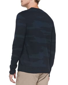 Asli Camo-Print Sweater, Navy