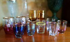 Mid century Glasses, Vintage glasses for your vintage bar, Selection of shot, liqueur, port, sherry glasses, frosted rim, Iridescent colors