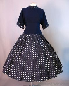Vintage 50s Full Skirt Dress Polka Dot Large bust 40 :  Clean and classic, there's nothing like navy and white - and it looks at least *decent* on nearly everyone.