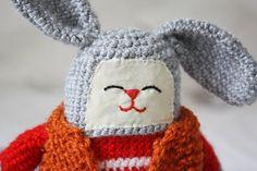 Grey bunny with orange vest by Walnuttreebuttons on Etsy