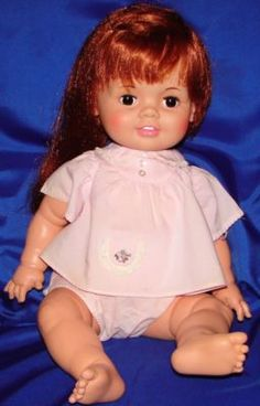 Baby Crissy(Chrissy) Hair- Soft vinyl face-Rubber Limbs(H) Old Dolls, Antique Dolls, Vintage Dolls, Childhood Toys, Childhood Memories, Doll Toys, Baby Dolls, Retro Toys, 70s Toys