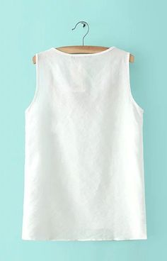 New Fashion Ladies' white Embroidery blouses sweet vintage brief O neck sleeveless shirt casual slim brand top