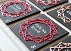 DIY Geometric String Art Escort Cards, via Oh Happy Day