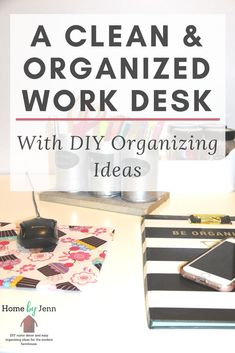 Having a clean and organized work area is key to helping with productivity. You can save money on your home organization by doing it yourself. Get some DIY desk organizer ideas to help you create a work space that stays clean and organized. #DIY #Deskorganizerideas #organizingideas #cleaning #organized #homebyjenn Office Organization At Work, Home Office Organization, Organizing Your Home, Organization Ideas, Office Ideas, Clutter Organization, Organizing Tips, Storage Ideas, Cleaning Hacks