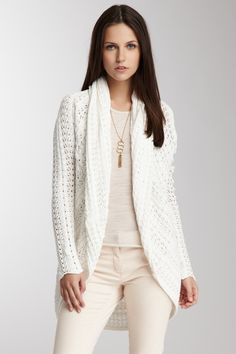 Shawl Collar Pointelle Cardigan <3 so pretty and comfy looking.