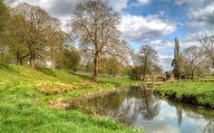 река, мост, деревья, пейзаж