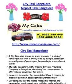 City Taxi Bangalore, Airport Taxi Bangalore