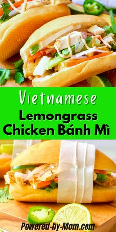 Enjoy this Lemongrass Chicken Bánh Mì with sriracha mayo for a tasty but easy lunch any time. Enjoy several different lemongrass chicken meals Pork Recipes For Dinner, Yummy Chicken Recipes, Chicken Meals, Grilling Recipes, Brunch Recipes, Delicious Recipes, Breakfast Recipes, Amazing Recipes, Great Recipes