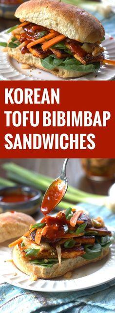 Korean Tofu Bibimbap Sandwiches