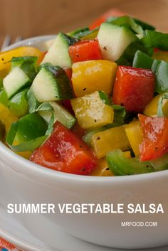Stay healthy all summer long by enjoying fresh summer veggies like the ones featured in this Summer Vegetable Salsa.