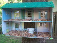 Recycle a doll house as a bird feeder #Birdfeeder, #Birdhouse, #RepurposedDollhouse