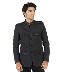 PEOPLE MEN BLACK CASUAL JACKET     This  charcoal grey casual jacket from People takes  your style quotient a notch up. Team with a statement t-shirt for the ultimate retro revival look. Finish the look with a chunky knitted scarf.