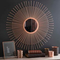 Home Decoration on Maisons du Monde. Take a look at all the furniture and decorative objects on Maisons du Monde. Sun Mirror, Copper Mirror, Sunburst Mirror, Metal Mirror, Copper Metal, Copper Living Room, Living Room Mirrors, Living Room Decor, Copper Lounge