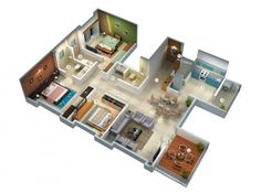 25 Three Bedroom House/Apartment Floor Plans