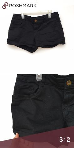 Cuffed Black Shorts Simple black denim shorts, with cuffed ends. H&M Shorts Jean Shorts