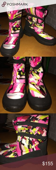 "NWOB! Emilio Pucci Snow Boots NWOB! Emilio Pucci Snow Boots Size: 40 IT - fits like a US size 9 Multicolored print snow boots with black rubber sole. Pull-on, Water resistant & Insulated.  These are new without the box. I purchased them about 2 years ago and have just never worn them.  Calf Circumference 12"" Height 8"" Heels 2"" Emilio Pucci Shoes Winter & Rain Boots"