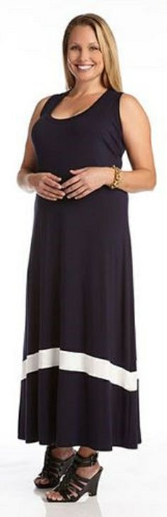 PLUS SIZE NAVY AND WHITE COLOR BLOCK MAXI DRESS Lounge in a longer length with this maxi dress from Karen Kane. The sleeveless silhouette is simple yet sleek with a single line of contrast color for a cool color blocked feel. #Plus_Size #Navy_and_White #Maxi_Dresses #Karen_Kane