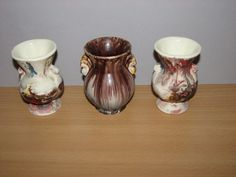3 VINTAGE ART POTTERY VASES MORTON END OF DAY + URN SHAPE MINIATURE EARTH TONES