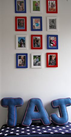 I love the picture frames in the colors of the room.. awesome