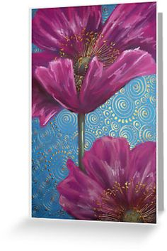 Pink Poppies on Blue Background by Cherie Roe Dirksen.  Greeting Card for $2.24