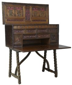 """CARVED WALNUT VAQUENO ON STAND WRITING DESK Ca1690 Spain. 47""""H x 45""""W x 23""""D."""