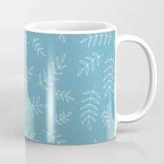Delicate Branches - Blue Mug - branch, branches, leaf, leaves, nature, plant, plants, pattern, simple, minimalist, vector, art, design, illustration
