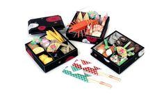 Papercraft de platos de comida japonesa.