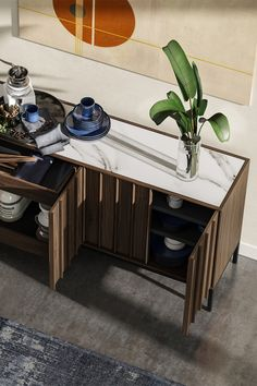 Entryway or dining room, the Cosmo Credenza by BDI is here to serve. Topped with Carrara porcelain, this solid wood credenza is ready to organize your clutter in style. Bench With Storage, Storage Chest, Storage Design, Carrara, Credenza, Storage Solutions, Clutter, Cosmos, Solid Wood