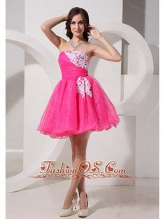 Hot Pink Appliques Strapless A-line Organza Stylish Prom Gowns For Customize- $108.25  http://www.fashionos.com  http://www.youtube.com/user/fashionoscom?feature=mhee   this is a great choice for you. It's almost doll-like in its design, with its strapless bodice with appliques fully at one side of the bust area and poofy short skirt. Beneath it, the lovely skirt flares out at the hips in several layers of organza, which add movement and fullness to it.