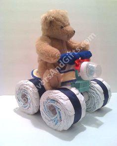 ATV Diaper Cake built from 44 Diapers size 1, Cotton Receiving Blanket, Baby Bottle, Pacifier, Dishwasher Basket, Bib, Pair of Socks  Washcloth, Toy Bear