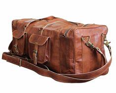 c3195b1e7e29 Details about Men Leather Gym Duffel Shoulder Bag Travel Overnight Luggage  Large Handbag Tote