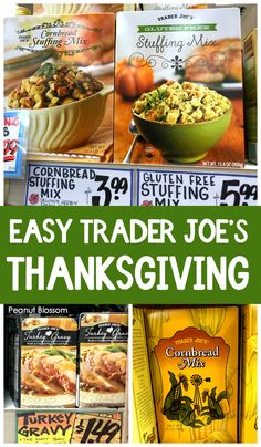 Easy Thanksgiving recipes using grocery store shortcuts. We love these Trader Joe's Thanksgiving recipes ideas but you can shop at almost any grocery store for similar items. Don't miss the tricks for making store-bought food taste fresh and fancy. Easy Thanksgiving Dinner, Thanksgiving Appetizers, Thanksgiving Side Dishes, Make Ahead Freezer Meals, Easy Meals For Kids, Kids Meals, Best Frozen Meals, Gluten Free Stuffing, Sweet Potato Pecan