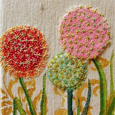 Felt flowers with embroidery