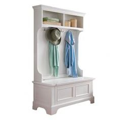 "Hall tree with two top compartments and dual coat hooks.    Product:  Hall tree   Construction Material: Solid and engineered wood and metal      Color: White   Features:     Two open storage shelves  Four double storage hooks  Lift top storage compartment      Dimensions: 64"" H x 40"" W x 18.5"" D        Note: Assembly required"