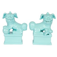 Turquoise Painted Foo Dogs, Pair