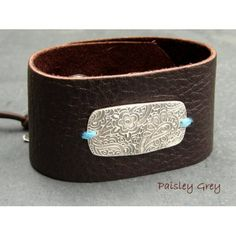 Bohemian Floral Paisley & Chocolate Leather Cuff Bracelet