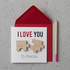 i love you to pieces valentine's day card by clouds and currents | notonthehighstreet.com