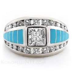 "This Princess-Cut Diamond is flanked by beautiful round diamonds and Sleeping Beauty Turquoise inlay. Set into white gold, this unique engagement ring is fit for royalty. ""Moonlit Lake - Brilliance"""