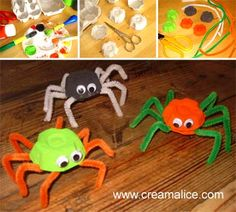 Halloween - Page 5 sur 10 - Créamalice Diy Halloween Spider, Easy Halloween Crafts, Halloween Activities, Diy Halloween Decorations, Haloween Party, Theme Halloween, Halloween Birthday, Happy Halloween, Diy For Kids