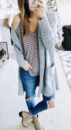 #winter #outfits gray braided cardigan