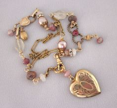 Vintage Assemblage Heart Locket Necklace - One of a Kind Jewelry Designs - by Jryen Designs