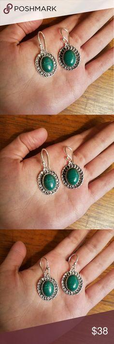 """NWOT Sterling Silver Malachite Earrings Very pretty. Marked 925 (sterling silver) 1.6"""" Jewelry Earrings"""